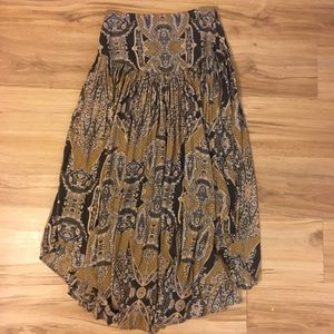 Free people paisley print skirt with side slits